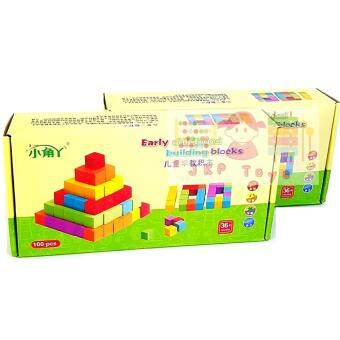 JKP Toys เเพคคู่ 2 กล่อง บล็อคไม้ลูกบาศก์ 100 ชิ้น สอบสาธิต มีโจทย์มาในชุด