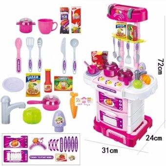 JKP Toys ชุดครัวพับเป็นกระเป๋าล้อลาก มีล้อ มีสีชมพูหวาน 43 ชิ้น