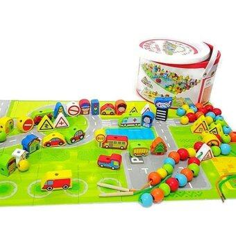 JKP Toys ของเล่นเสริมพัฒนาการ ร้อยเชือกไม้สร้างเมือง 80 ชิ้น