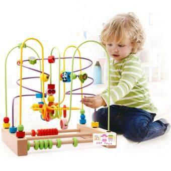 JKP Toys ของเล่นไม้เสริมพัฒนาการ ขดลวดลูกปัดลายสัตว์เเละผลไม้ (จัมโบ้)
