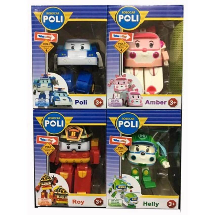JP-TOY หุ่นยนต์แปลงร่าง Robocar Poli (1 ชุดมี Roy,Amber,Poli,Helly)