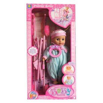 Khonglendee ตุ๊กตาเด็ก+รถเข็นล้อมีไฟ baby lovely