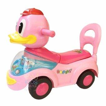 Kids castle รถขาไถหน้าน้องเป็ดมีเสียงเพลงเบาะเปิดได้มีพนักพิงใช้เป็นหัดเดินได้สีชมพู