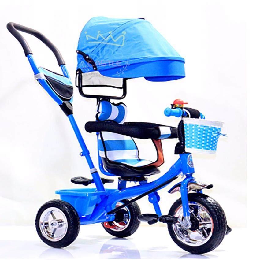 Kids castle รถเข็นจักรยานสามล้อเด็กแบบมีหลังคาบังแดดและก้านเข็นลายริ้วสีน้ำเงิน4in1