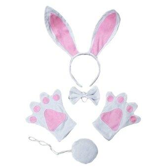 Kids Halloween Costume Animal Rabbit Headband Tie Tail Gloves forFancy Dress Cosplay Party Christmas Decoration - intl