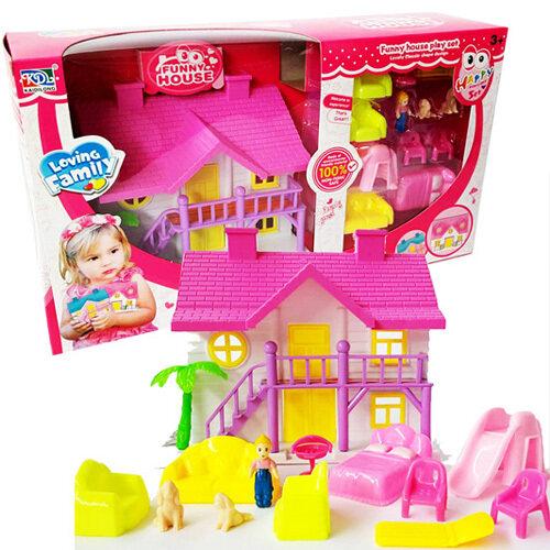 Kids Toys  ของเล่นเด็ก บ้านตุ๊กตาสองชั้น สีสันสดใส