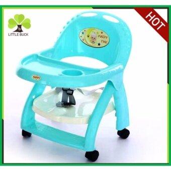 Kidsmania เก้าอี้นั่งกินข้าวเด็ก เก้าอี้เด็ก รุ่น Happytime มีล้อพับเก็บง่าย สะดวกต่อการพกพา สีฟ้า