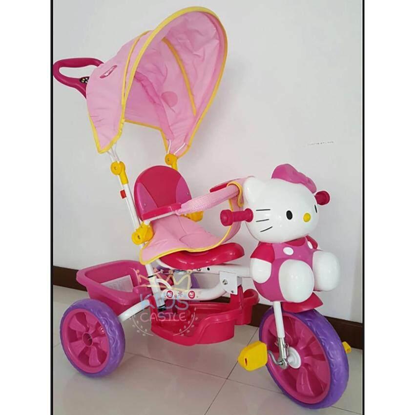 รถจักรยานสามล้อมีร่มสำหรับบังแดดสำหรับเด็กเล็กสีชมพูน้องแมวน้อย Kitty