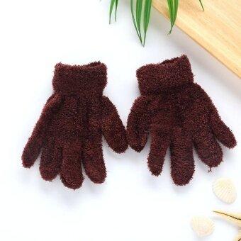 Kurry Children Boy Girl Plain Winter Warm Plush Stuffed Gloves Kindergarten Dancing - intl