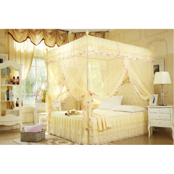 Lace Flower 4 Corners Post Bed Canopy Mosquito Net Twin Beige