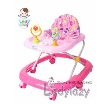 ladylazy รถเด็กหัดเดินมีเสียงดนตรี ปรับได้ 3 ระดับ สีชมพู