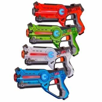 ปืนเลเซอร์อินฟราเรดสำหรับเล่นเกมปืนเลเซอร์ LaserGame Gun 4 ชิ้น (สีน้ำเงิน สีขาว สีเขียว และสีส้ม)