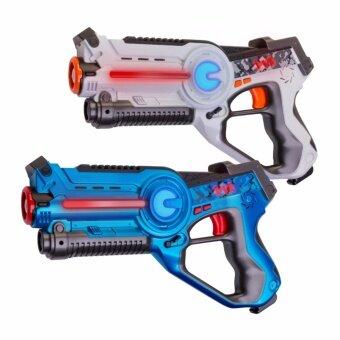 ปืนเลเซอร์อินฟราเรดสำหรับเล่นเกมปืนเลเซอร์ LaserGame Gun 2 ชิ้น (สีน้ำเงิน 1 ชิ้นและสีขาว 1 ชิ้น)
