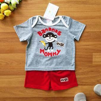 Le Bon Baby ไซส์ 3/6 (3-6 เดือน) เซ็ต 2 ชิ้น เด็กชาย เสื้อแขนสั้นสีเทาลายลิงถือกล้วย กางเกงขาสั้นสีแดง - 2