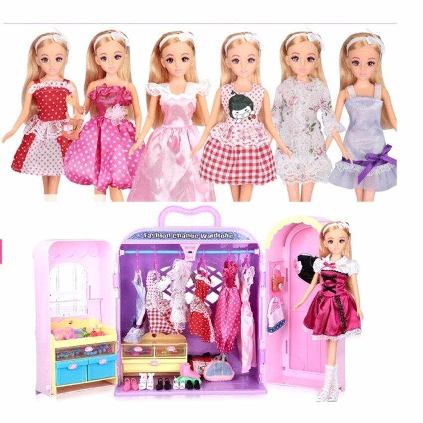 Lelia ตุ๊กตา และกระเป๋ามือถือแปลงร่างเป็นตู้เสื้อผ้า พร้อมอุปกรณ์แต่งตัว