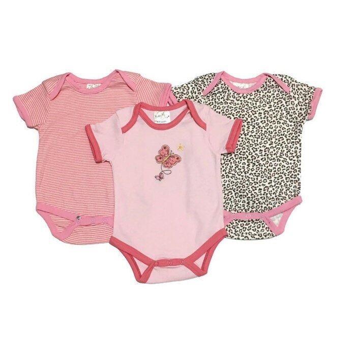 LITTLE BABY M เสื้อผ้าเด็กเล็ก บอดีสูท 3ตัว setสีชมพู