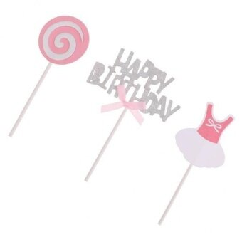 MagiDeal 3x Glitter Silver HAPPY BIRTHDAY Cake Topper PicksLollipop Baby Cloth Pink - intl