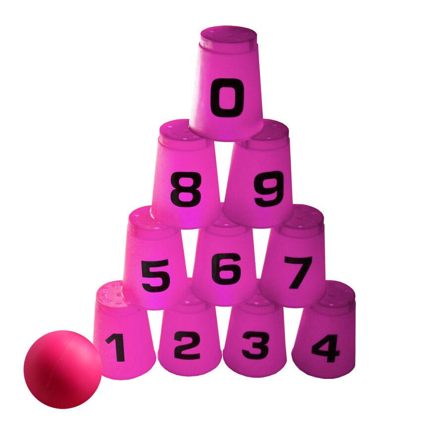Manamama เกมส์ โยนบอล ปาเป้า ตัวเลข 0-9 ปาถ้วย ปาแก้ว เสริมทักษะ (สีชมพู)