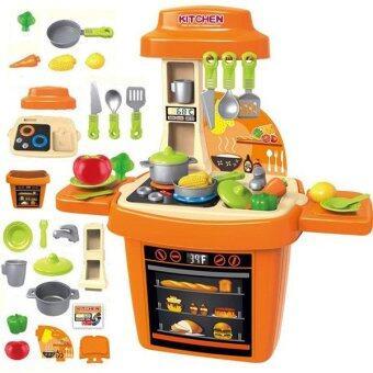 Morestech ชุดครัว มีไฟ มีเสียงดนตรี อุปกรณ์ครบชุด Model 8410 (สีส้ม )