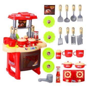Morestech ชุดครัว มีไฟ มีเสียงดนตรี อุปกรณ์ครบชุด RX1800 (สีแดง)