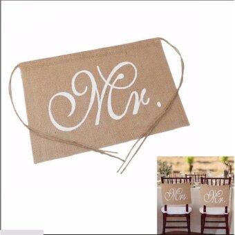 Mr. Mrs. Burlap Chair Banner Set Chair Sign Garland WeddingDecoration - intl