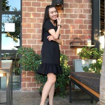 Najin Design เดรสให้นม ชุดให้นม Dressให้นม ทรงสุภาพ รุ่น ซิปแนวตั้ง ชายระบาย ผ้าโซล่อน