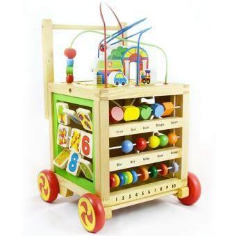 NanaBaby ของเล่นไม้ 2 in 1 รถผลักเดินกล่องกิจกรรมไม้ 5 ด้าน