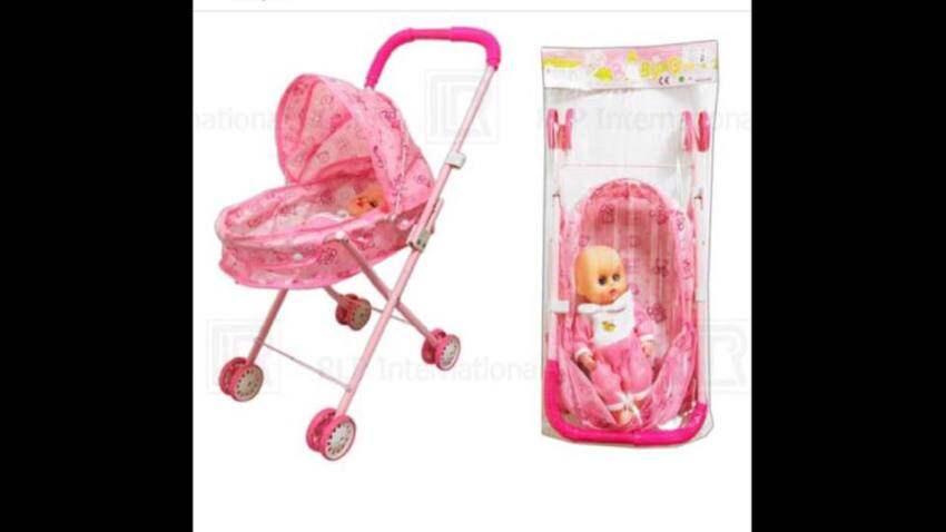 Nanny&Babies รถเข็นตุ๊กตา รุ่นมีหลังคาน่ารักน่าเล่นสุดๆ มีตุ๊กตา1ตัว ทำจากเหล็กทั้งคันแข็งแรง ทนทาน