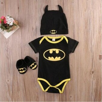 Newborn Baby Boy Batman Short Sleeve Romper Bodysuit+Shoes+HatClothes 3Pcs Outfits Set 0-24M - intl