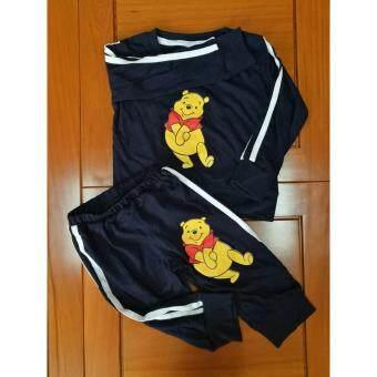 nightberry เสื้อยืดเด็กแขนยาวพร้อมกางเกงขายาวสีน้ำเงิน ไซส์ S - nightberry0974