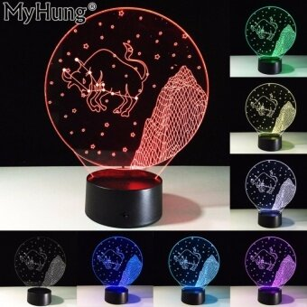 Novelty Gifts Taurus 3D LED Bedroom Table Lamp TouchSwitchConstellation Led Acrylic Vision Night Light Romantic LampUSBchanger - intl