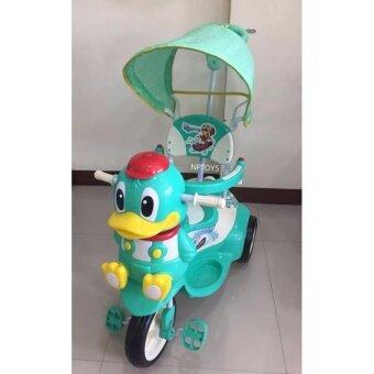 Np Toys รถจักรยานสามล้อเด็กหน้าเป็ด มีด้ามเข็น ร่มบังแดด มีเสียงดนตรี (สีเขียว)