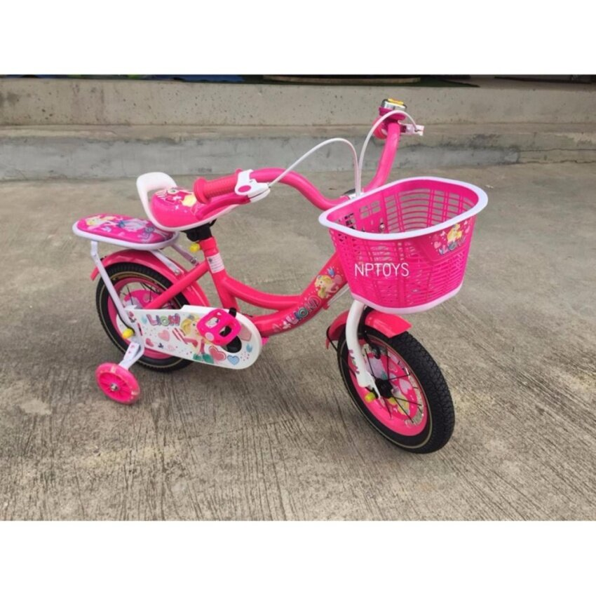 Np Toys รถจักรยานเด็ก รถจักรยานปั่น12นิ้ว สีชมพูเข้ม มีล้อประคองหลัง