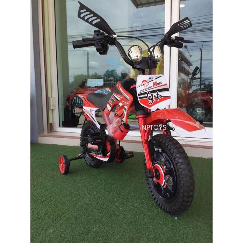 Np Toys รถจักรยานเด็ก จักรยานเด็ก ทรงวิบาก โมโตครอส 12 สีแดง