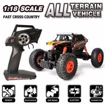 รถไต่หิน รถบังคับวิทยุ รถบิ๊กฟุต ออฟโรดoff-road 4WD รีโมท 2.4Ghz. WLtoys scale 1:18 4WD RC Climbing Car - สีส้ม