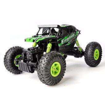 รถไต่หิน รถบังคับวิทยุ รถบิ๊กฟุต ออฟโรดoff-road 4WD รีโมท 2.4Ghz. WLtoys scale 1:18 4WD RC Climbing Car - สีเขียว