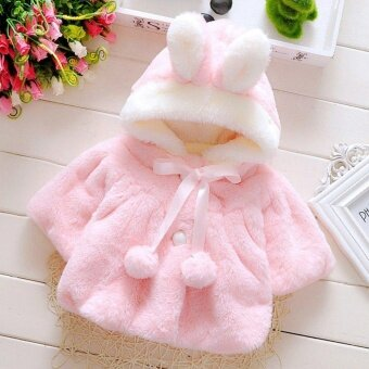 Harga OH Baby Infant Girls Fur Thickened Warm Coat With Hat 100cm - intl