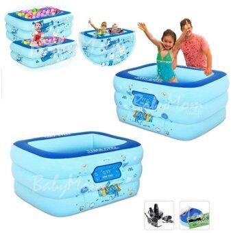 open baby สระว่ายน้ำเป่าลม ขนาด 135*95*55 cm สีฟ้า พร้อมปั๊มไฟฟ้า
