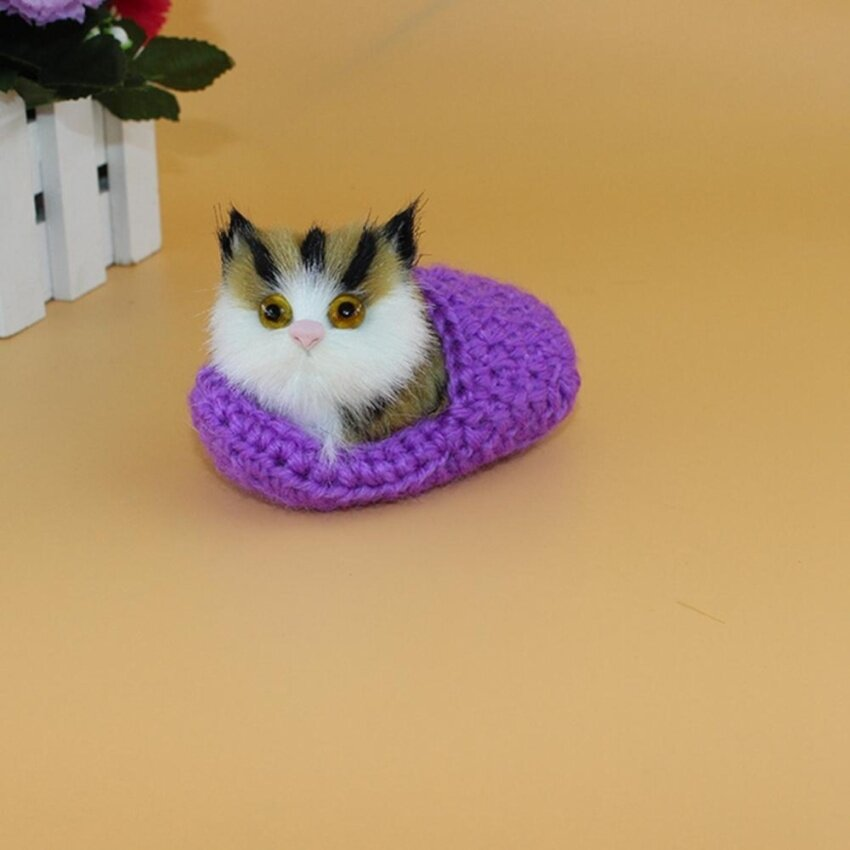 Open-Eyed Slippers Will Be Called The Simulation Cat Purple - intl