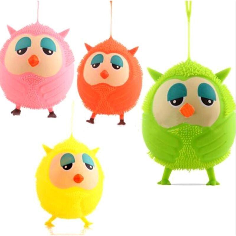 Owl Doll Luminous Flash Elastic Ball Vent Toy Soft Fuzzy Ball(Random Color) - intl