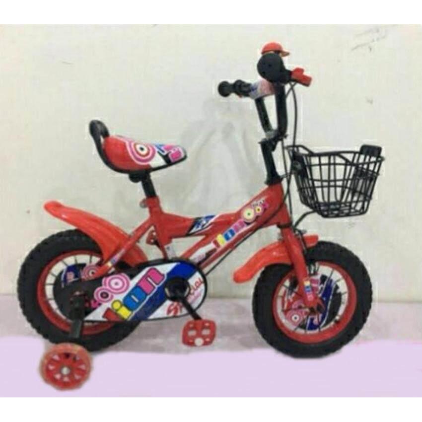Pangforkids รถจักรยานเด็กขนาด 12 นิ้ว รุ่น LNZ6666-12 ล้อแบบซี่ลวด ยางเติมลม ล้อประคองไฟ สีแดง เหลือง เขียว น้ำเงิน