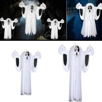 Party creepy Halloween Cosplay Masque White Hanging Ghost GardenDecorations Props - intl
