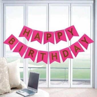Party Decorations Flash Gold Paper Banners HAPPY Birthday LetterFlag Rose red - intl