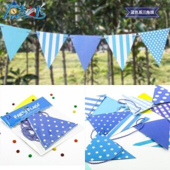 Party Dress Up Item Birthday Flag Banner Banner Banner DecorationBlue triangle flag - intl