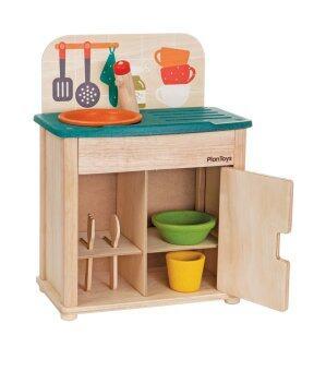 PlanToys ของเล่นไม้ SinkFridge ชุดล้างจานมินิ สำหรับเด็กอายุ 3 ขวบ ขึ้นไป