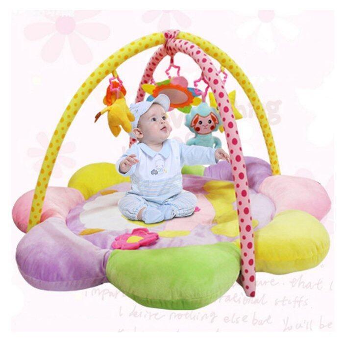 เพลยิม เพลยิมเสริมพัฒนาการเด็ก ที่นอนเกิจกรรม สีสันสดใส เสริมด้านสายตา แขน ขาให้ขยับตาม เนื้อเบาะหนานุ่ม play gym (แกะ สีม่วง)