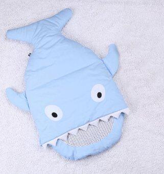 ถุงนอนเด็กรูปปลา ถุงนอนปลาฉลาม ถุงนอนสำหรับเด็ก ของใช้เด็กแรกเกิดที่นอนเด็กทารก สีฟ้า