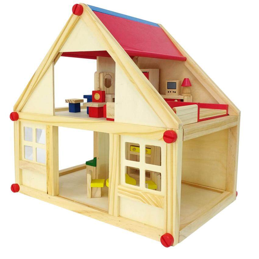 ชุดครอบครัวสุขสันต์ ของเล่นไม้ บ้านตุ๊กตา บ้านของเล่น พร้อมเฟอร์นิเจอร์ image