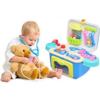 ชุดของเล่นคุณหมอ ของเล่นเครื่องมือแพทย์ อุปกรณ์คุณหมอของเล่น ชุดเครื่องมือคุณหมอ แบบกล่อง พร้อมเครื่องมือของเล่น ความฝันเด็ก ของเล่นบทบาทสมมติเป็นคุณหมอ(สีฟ้า)