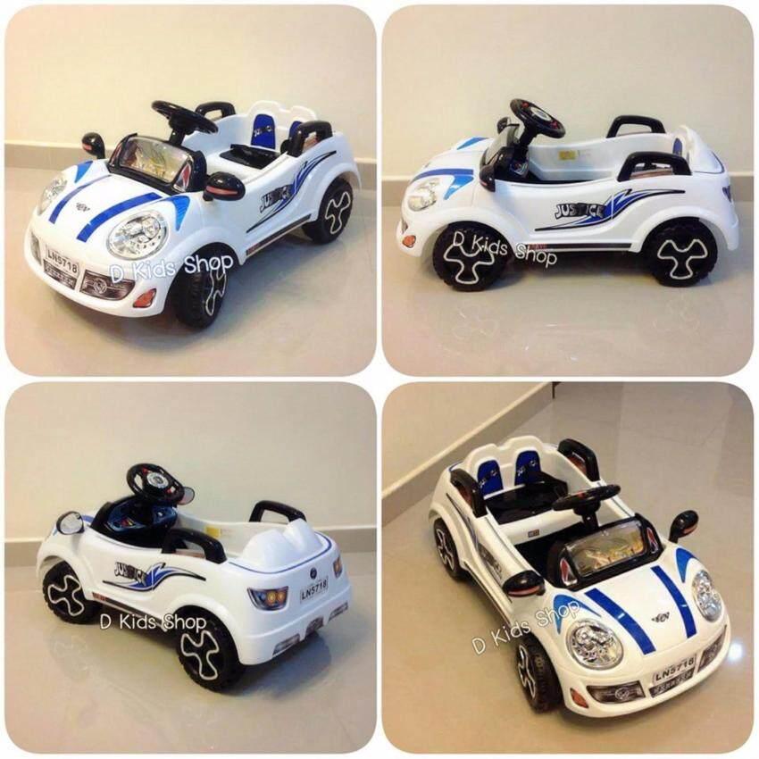 รถแบตเตอรี่ รถเด็กนั่ง มินิจัสติน สีขาว รถเด็กไฟฟ้า ขับเองได้ บังคับรีโมทได้